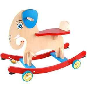 YangMi Cheval de Bois pour Enfants- Jouet de Cheval en Bois d'éléphant de Bande dessinée d'enfants d'intérieur, Jouet éducatif de Cheval à Bascule en Bois pour bébé