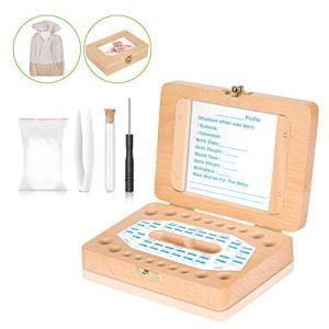 Boîte à Dents pour Bébé – Uiter Boîte à Dents Souvenir Rectangulaire en Bois Fabriquée à la Main pour Bébé avec Organisateur Durable(Accessoires Gratuits)