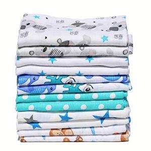 ClevereKids Langes bébé en mousseline de coton colorées| Lot de 12 | 70 x 80 cm | double tissage | certifié Oeko-Tex Standard 100 (garçons)