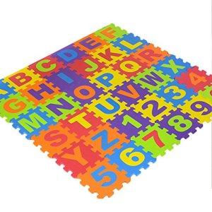 ehind Tapis de Sol épais pour l'éveil de bébé, Puzzle Mousse Souple Alphabets Chiffres, 36 Dalles Colorées à Imbriquer 15.5 x 15.5cm -Utilisé pour Les Tapis de Jeu ou Les barrières pour bébés