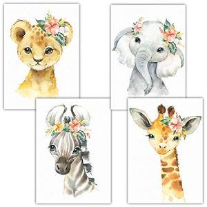 Frechdax® Lot de 4 Poster pour Chambre d'enfant – A4 Photos pour Chambre de bébé – Décoration Fille, 4er Set Blumen, Safari, A4-21×29,7cm