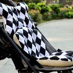 Luzoeo Coussin Soutien de Poussette Motif Cartoon pour Bébé en Conton Coussin Réducteur de Landau Enfant Souple Confortable Sécurisé pour Poussette Siège de Voiture 35×78 cm (Noir et Blanc)