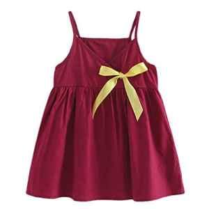POIUDE Robe de Princesse sans Manches Bowknot été Bébé Fille(du vin,24 Mois)