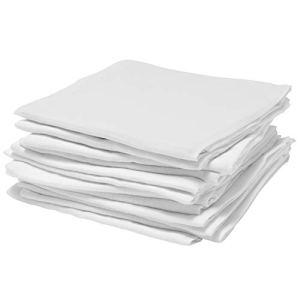 Bloomsbury Mill – Carrés de Mousseline Pour Bébé – 70cm x 70cm – 100% Coton de Qualité Supérieure – Lot de 12 – Blanc