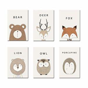 FREAHAP R Affiche Chambre Bebe Animaux pour Enfant Bébé Fille Garçon Décoration Affiches Estampes d'animaux Mignion Lot de 6