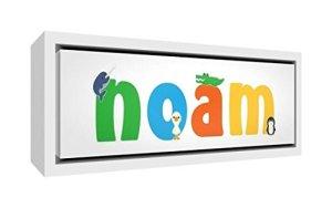 Little Helper Toile avec Cadre en Bois Massif Blanc Style Illustratif Coloré avec le Nom de Jeune Garçon Noam 19 x 46 x 3 cm Petit