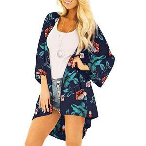 Viewk Femmes Couverture Blouses Hauts Style National Imprimer Costume Protection Solaire vêtements Bikini Maillots De Bain Plage Maillot De Bain Blouse