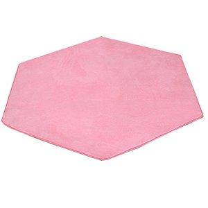Hexagonal pour tapis Coral Fleece Rose Super Doux Home Tapis Tapis de sol pour enfants Tente Tapis Maison pour enfants Pad Coussin 140 x 140 cm (Rose)