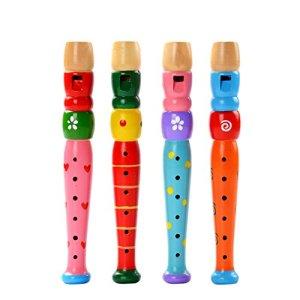 Ruikey 1 Piece Jouet Piccolo en Bois Instruments de Musique Cadeau d'anniversaire pour Enfant