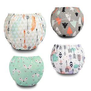 Flyish Pantalon de Training Lavable pour bébé Pantalon de Training réutilisable pour Enfant, Couche Lavables Bébé, Couches-Culottes Anti-Fuite 4 Paquets, 2-5 Ans