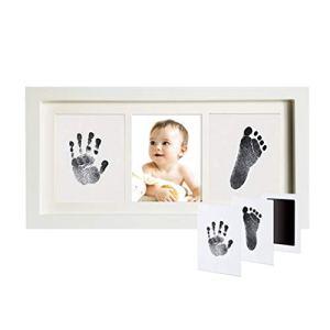 CADANIA Didplay Beautiful Pearhead Babyprints né Empreinte de la Main et Empreinte de Pas Kit de Cadre Po Safe pour bébé Clean-Touch