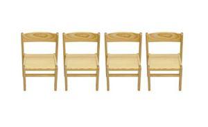 Obique Mobilier en Pine Solide pour Enfants Set de 4 Chaises Vernies Naturel