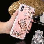Saceebe Compatible avec Xiaomi Mi A2 Coque Glitter Paillette Brillant Strass Diamant Bling Clear View Miroir Coque Étui Silicone TPU Housse Protection avec Anneau Support,Or Rose