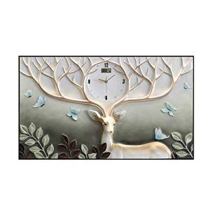 BEAUTY brand Horloge Murale Tête De Cerf Forme Art Déco Horloge Décoration Murale Salon Chambre 48x81cm