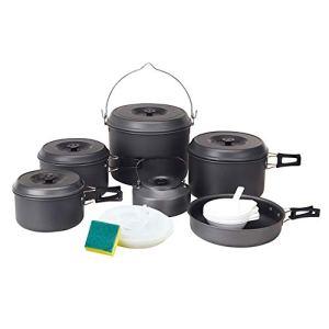 CC home Batterie De Cuisine En Plein Air 21 Sets, Pot De Pique-nique De Camping Portable Pliant Sac À Dos Empilé Batterie De Cuisine 10-12 Personnes Faisant La Cuisine A++