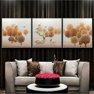WANGHH Salon Peinture Décorative Moderne Simple 3D Mural Relief Triple,Gold-60.60*.3