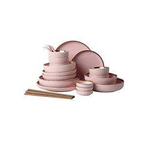 WH- Ensemble de vaisselle en céramique rose moderne simple vaisselle de ménage assiette creuse plat cuillère bol combinaison (Size : 48-piece set)