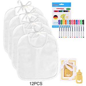 Faburo 12PCS Bavoir pour Bébé Blanc à Peindre,12 Marqueurs Textile et 1 Décapsuleur, Bavoirs Imperméables Drool, Idéal pour Décorer et Peindre