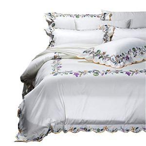 JSWEETLE Literie de Coton Haut de Gamme en Coton brodé de 140 Fleurs de Jardin en Coton de Style Princesse, Ensemble de Quatre