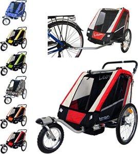 Papilioshop Leon Remorque poussette pour le transport de 1ou 2enfants avec vélo, roue avant pivotante, remorque pliable, New Rosso
