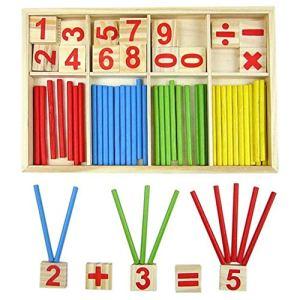 Doitsa 1set Jouet de Calcul Mathematique Spindles Cartes de Nombre en Bois Bébé Jouet Educatif pour Enfants Nombre Comptage Apprentissage