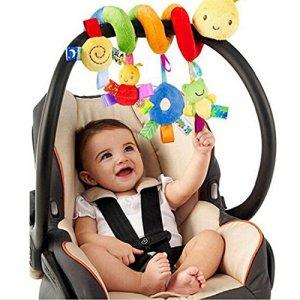 1pc Mobile de lit bébé Ornement en peluche animal suspendu Hochet en spirale Berceau suspendu pour poussette landau Ornement Jouets pour bébé
