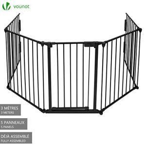 Barrière de sécurité enfant – GRANDE VERSION 3M | Barrière de protection cheminée | 5 panneaux – Pré-assemblé