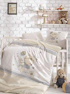 BEKATA Parure de lit pour bébé et tout-petits Housse de couette + taie d'oreiller + drap plat au total 5 pièces (la couette est incluse) hypoallergénique