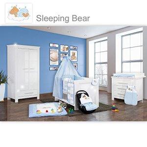 Chambre bébé Enni brillant 19 pièces avec 2 portes + tissu Sleeping Bear Bleu