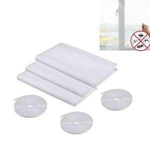 Moustiquaire pour Fenêtre, 3 Paquets Moustiquaire Fenêtre avec 3 Auto-Rubans Adhésifs, 1,3 mx 1,5 m Respirant et Lavable