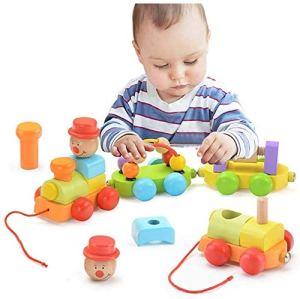 Remorque écrou Jouet en bois Jouet voiture, petit train jouets de voiture magnétiques remorqués, jouets éducatifs bricolage kits, jouets pour enfants Intelligence Development