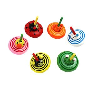 TOYANDONA 6 Pcs Coloré en Bois Toupie Jouets Créatif Dessin Animé Animal Flip Tops Gyroscope Jouets Enfants Jouets Éducatifs (Style Aléatoire)