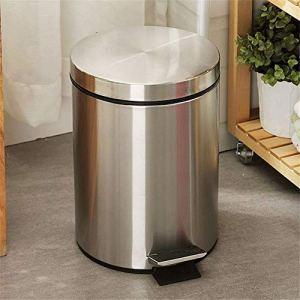 Trash Can ménages 12 litres bac avec seau intérieur en plastique en acier inoxydable Poubelle à pédale for salle de bain Bureau Salon bac de recyclage Poubelle ( Color : Silver , Size : 12L )