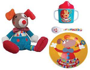 EBULOBO – Lot Doudou Clown PLUS Assiette, Cuillère, Mug Collection Magic Circus