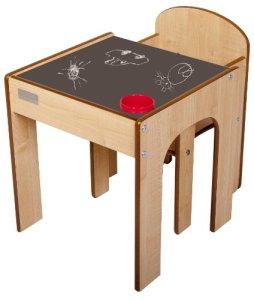 Little Helper en semble Bureau et Chaise en Bois pour Enfants avec Pot à Crayons/Pinceaux Funstation de Little Helper Noir
