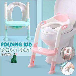 AFF Siège de Formation de Toilette Pliable pour bébé bébé avec Coussin réglable Échelle réglable Sièges de Formation de Pot Portable pour Enfants,Rose