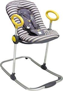 BÉABA, Transat Up & Down I, Transat Réglable par simple pression, 4 hauteurs, 3 Inclinaisons, Unisexe pour Bébé et Enfants, Réducteur de naissance, Ultra confortable, Gris rock