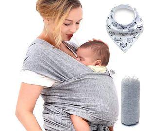 Écharpe de portage bébé, Porte bebe pour les nouveau-nés de haute qualité en coton doux (grise) jusqu'a 15 kg. bavoir bébé + bavoir bandana offert