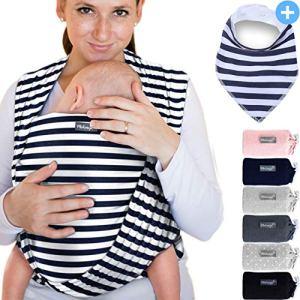 Makimaja – Écharpe de portage 100% coton – bleu marine à rayures – porte-bébé de haute qualité pour nouveau-nés et bébés jusqu'à 15 kg – incl. sac de rangement et bavoir bébé