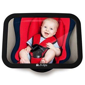 Miroir siège arrière de bébé – Rétroviseur incassable de voiture pour voir enfant/bébé sur de siège bébé, Miroir de sécurité, Installation facile, Anti-oscillation, ajustement universel