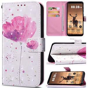 NSSTAR Compatible avec Samsung Galaxy A10S Housse de téléphone Housse Etui Portefeuille Cuir Coque Brillante Bling Glitter 3D Motif Folio Stand Pochette Wallet Coque,Fleur Rose