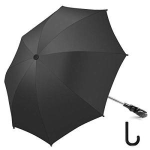 RIOGOO Parapluie Parasol Poussette Universal 50+ UV Parapluie de protection solaire pour bébé et nourrisson avec poignée parapluie pour landau, poussette, poussette et poussette-Noir