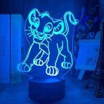 CMmin 3D Lampe LED USB veilleuse Le Roi Lion Scar Party Lampe Illusion 3D Supplies 7 Couleurs Night Light Touch et télécommande Dimmable Jouets lumière d'anniversaire for Enfants Filles Garçons Bébé