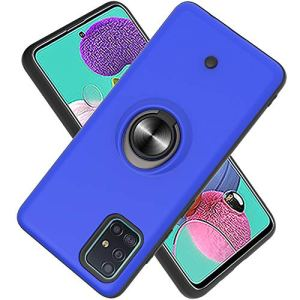 FAWUMAN Coque Samsung Galaxy A51,Bouton de décompression,Gyroscope Rotatif,PC + TPU Housse résistant aux Chocs avec Support à Anneau Rotatif à 360 degrés -Bleu Marin