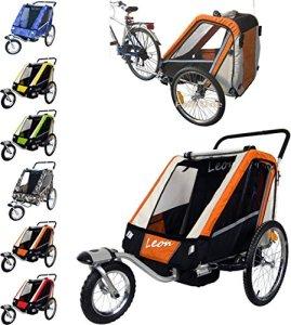 Leon PAPILIOSHOP Remorque Poussette pour le transport de 1 à 2 enfants, Arancione