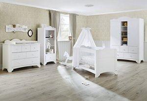 Pinolino 101642bg 3pièces Largeur, lit bébé, commode avec table à langer et grande armoire en pin massif lasuré blanc, 140x 70cm