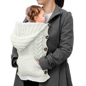 SOONHUA Cape en tricot pour nouveau-né de plein air coupe-vent à capuche pour bébé 0-1 ans Blanc