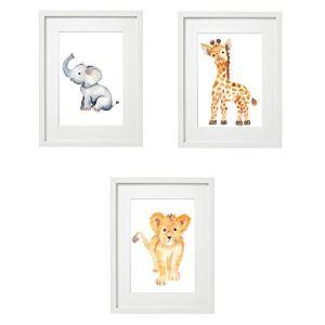 V2 Lot de 3 posters pour chambre d'enfants – Format A4 – Pour filles – Garçons – Animaux de bébé – Coloré