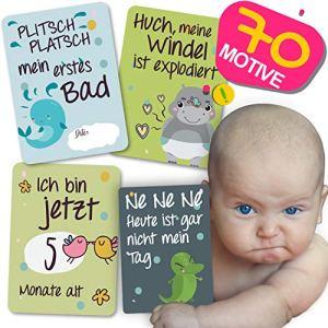 JANEYO Cartes de naissance pour bébé Meilenstein pour la première année de vie – Idéal comme cadeau de naissance ou de grossesse – Cartes de naissance pour bébé garçon et fille – Allemand