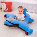 Luoshan Cartoon siège bébé Chaise d'apprentissage Siège bébé Canapé d'apprentissage Enfants en Bas âge sièges d'appoint en Peluche Cadeau (Bleu) (Color : Stripe)